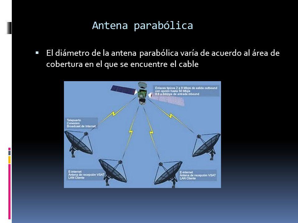 Antena parabólica El diámetro de la antena parabólica varía de acuerdo al área de cobertura en el que se encuentre el cable.
