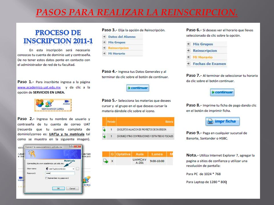 PASOS PARA REALIZAR LA REINSCRIPCION. PROCESO DE INSCRIPCION 2011-1