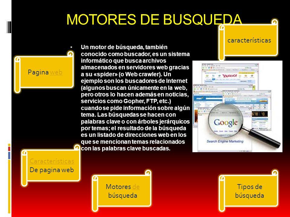 MOTORES DE BUSQUEDA características Pagina web Características