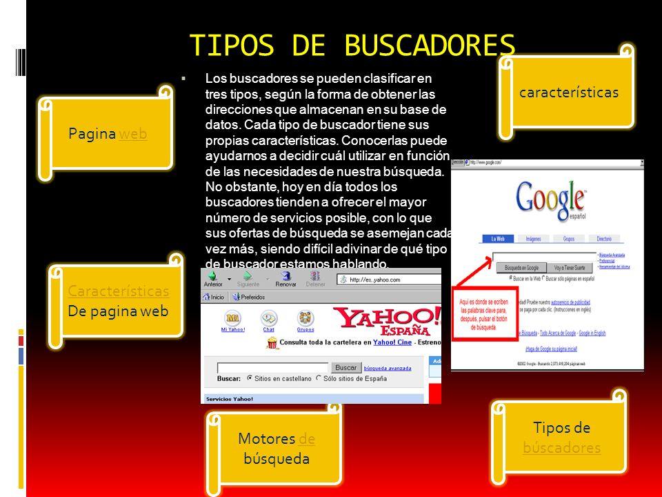 TIPOS DE BUSCADORES características Pagina web Características