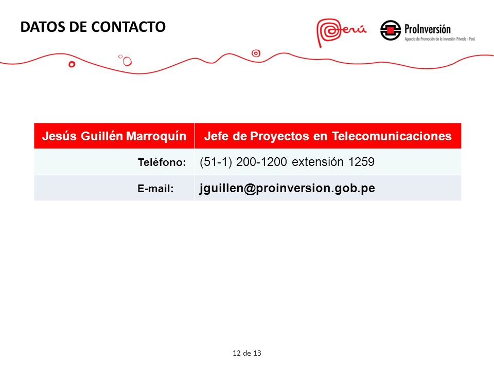 Jesús Guillén Marroquín Jefe de Proyectos en Telecomunicaciones