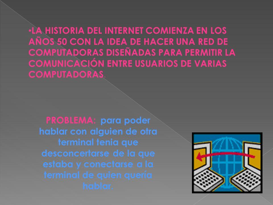 LA HISTORIA DEL INTERNET COMIENZA EN LOS AÑOS 50 CON LA IDEA DE HACER UNA RED DE COMPUTADORAS DISEÑADAS PARA PERMITIR LA COMUNICACIÓN ENTRE USUARIOS DE VARIAS COMPUTADORAS.