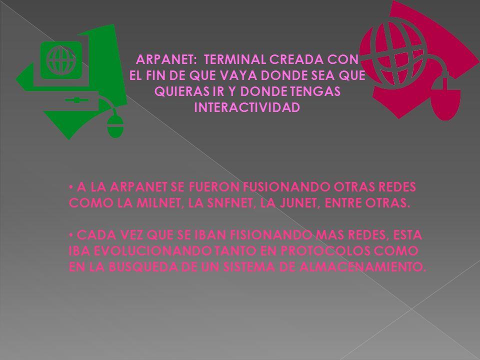 ARPANET: TERMINAL CREADA CON EL FIN DE QUE VAYA DONDE SEA QUE QUIERAS IR Y DONDE TENGAS INTERACTIVIDAD