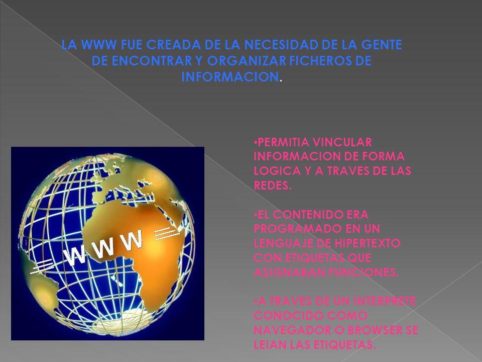 LA WWW FUE CREADA DE LA NECESIDAD DE LA GENTE DE ENCONTRAR Y ORGANIZAR FICHEROS DE INFORMACION.