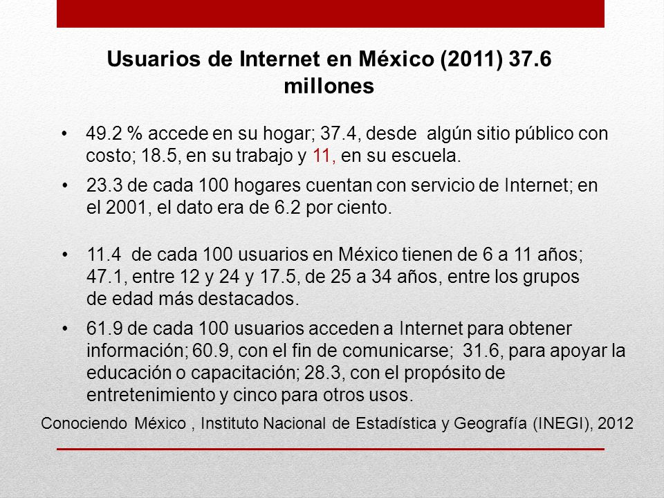 Usuarios de Internet en México (2011) 37.6 millones