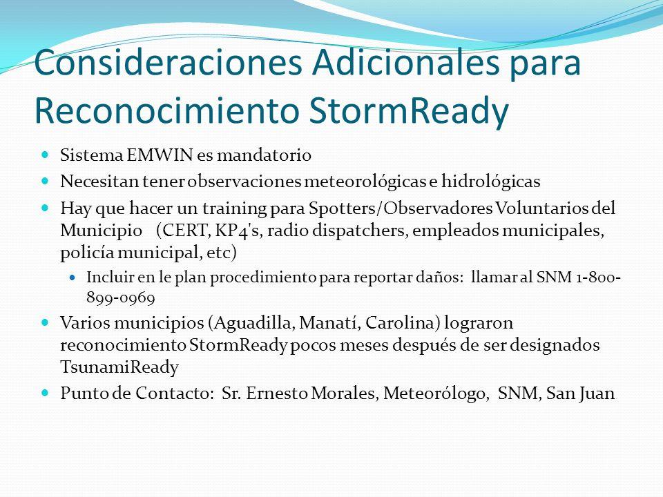 Consideraciones Adicionales para Reconocimiento StormReady