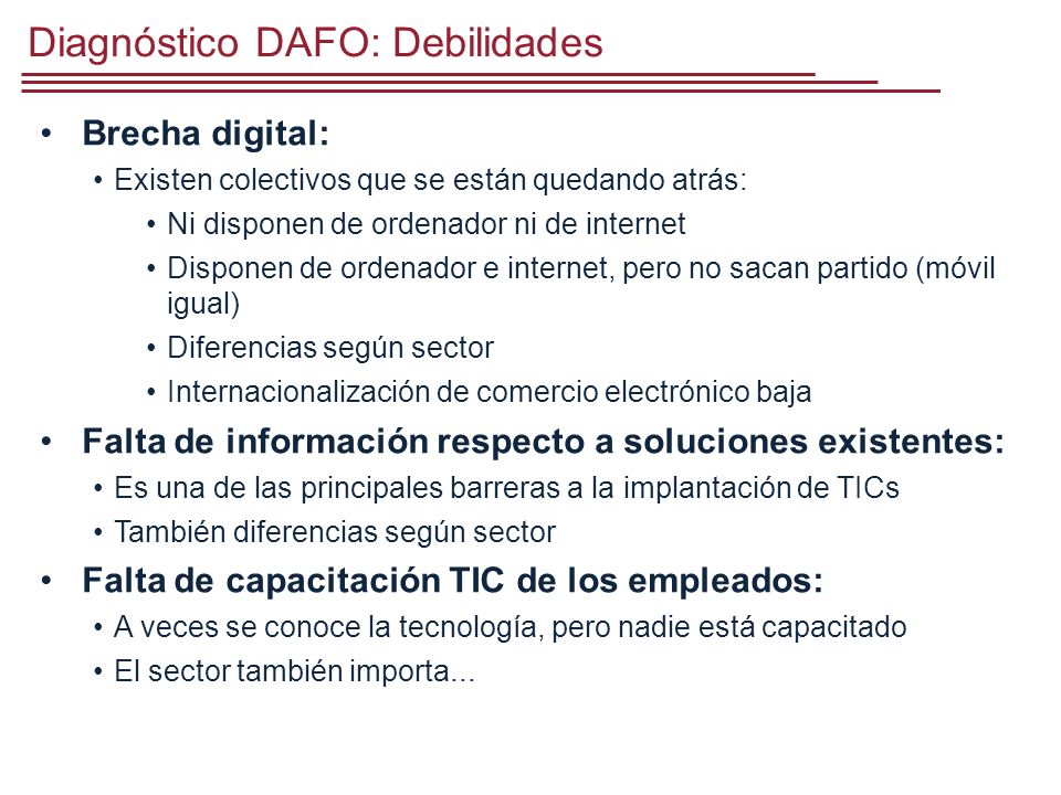 Diagnóstico DAFO: Debilidades