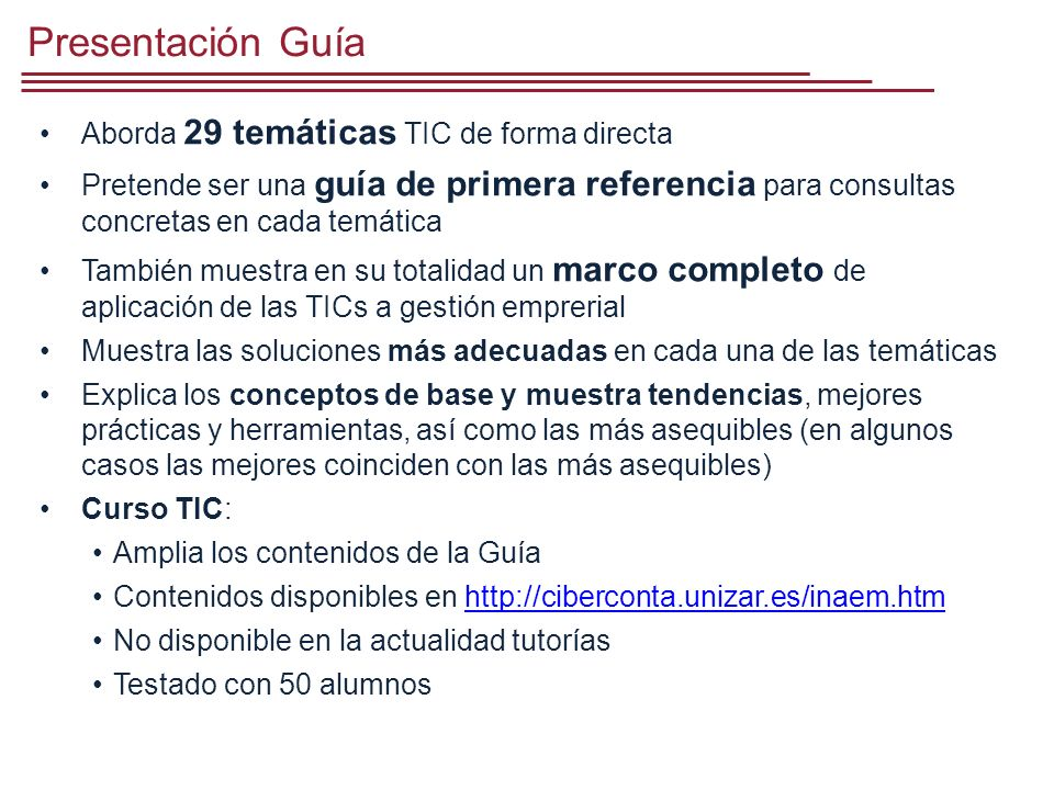 Presentación Guía Aborda 29 temáticas TIC de forma directa