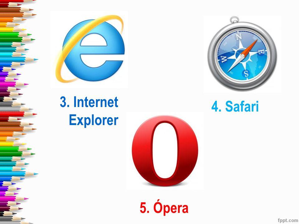 3. Internet Explorer 4. Safari 5. Ópera