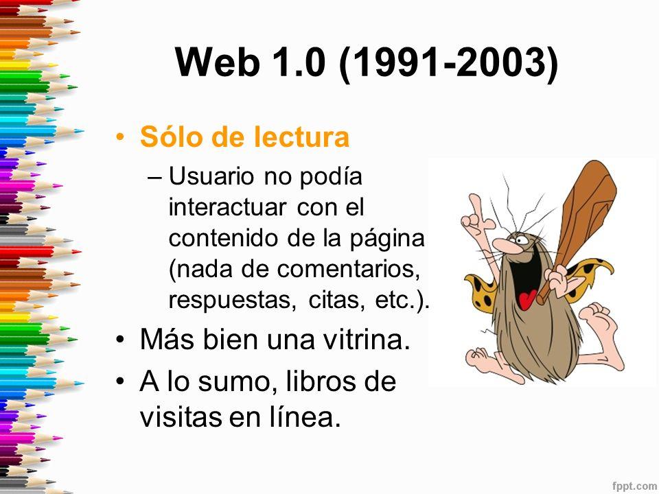 Web 1.0 (1991-2003) Sólo de lectura Más bien una vitrina.