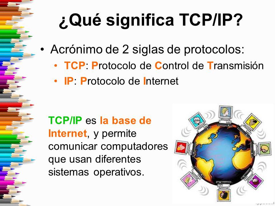 ¿Qué significa TCP/IP Acrónimo de 2 siglas de protocolos: