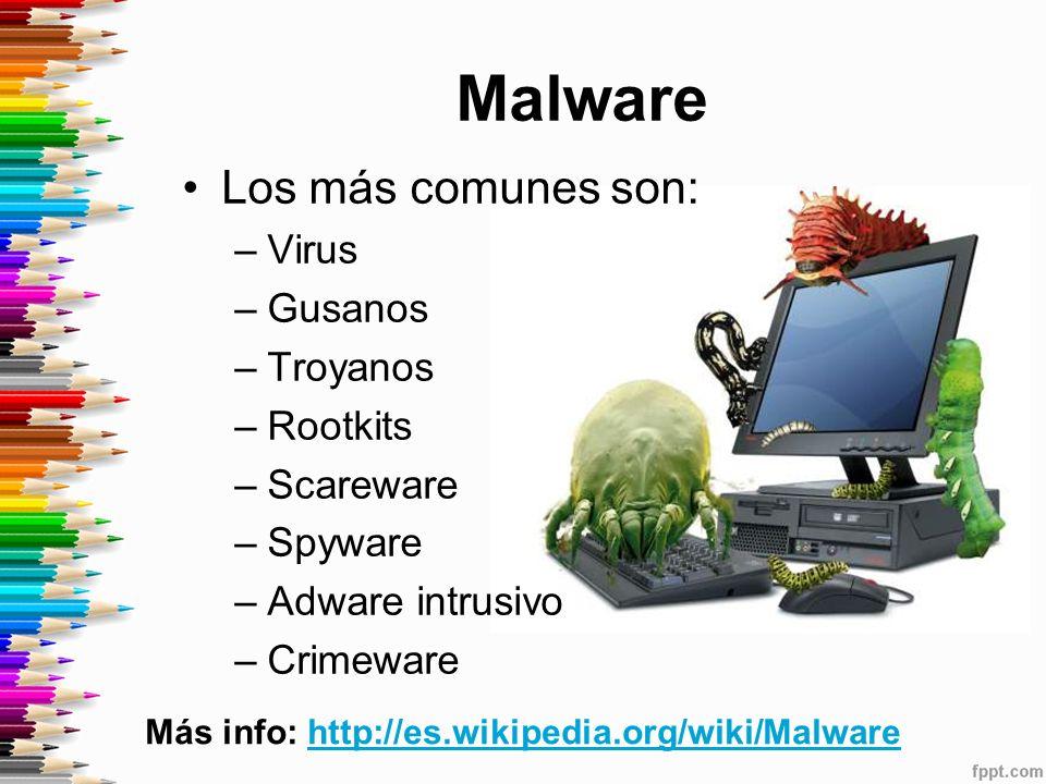 Malware Los más comunes son: Virus Gusanos Troyanos Rootkits Scareware