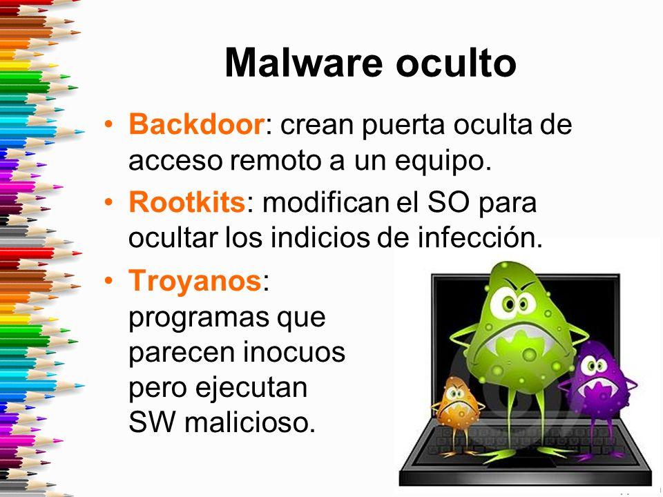 Malware oculto Backdoor: crean puerta oculta de acceso remoto a un equipo. Rootkits: modifican el SO para ocultar los indicios de infección.