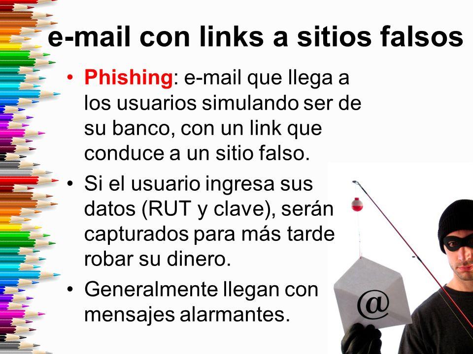 e-mail con links a sitios falsos