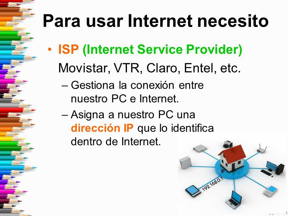 Para usar Internet necesito