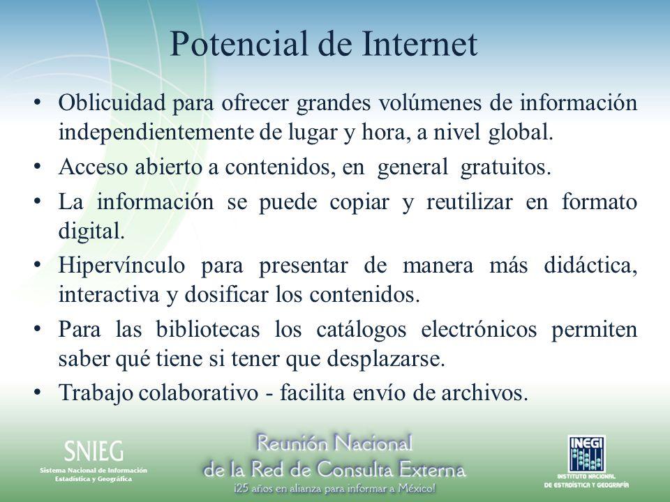 Potencial de Internet Oblicuidad para ofrecer grandes volúmenes de información independientemente de lugar y hora, a nivel global.