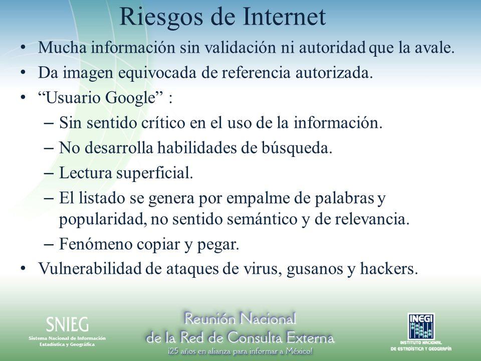 Riesgos de Internet Mucha información sin validación ni autoridad que la avale. Da imagen equivocada de referencia autorizada.