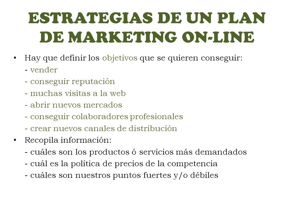 ESTRATEGIAS DE UN PLAN DE MARKETING ON-LINE