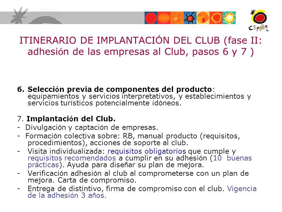 ITINERARIO DE IMPLANTACIÓN DEL CLUB (fase II: adhesión de las empresas al Club, pasos 6 y 7 )