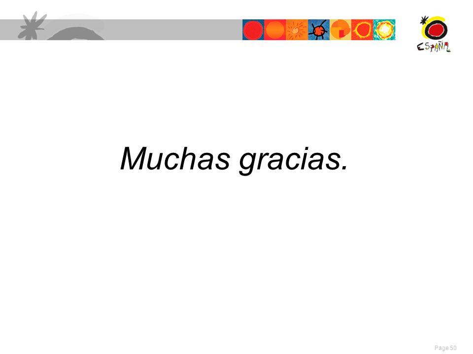 Muchas gracias. Page 50