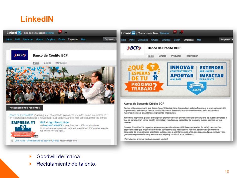 LinkedIN Goodwill de marca. Reclutamiento de talento.
