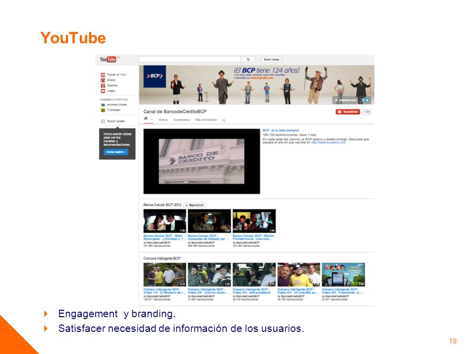YouTube Engagement y branding.