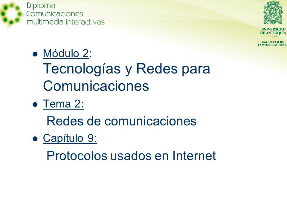 Redes de comunicaciones Protocolos usados en Internet