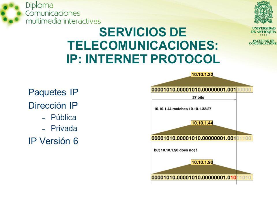 SERVICIOS DE TELECOMUNICACIONES: IP: INTERNET PROTOCOL