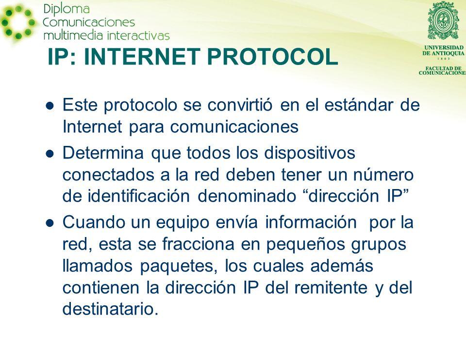 IP: INTERNET PROTOCOL Este protocolo se convirtió en el estándar de Internet para comunicaciones.