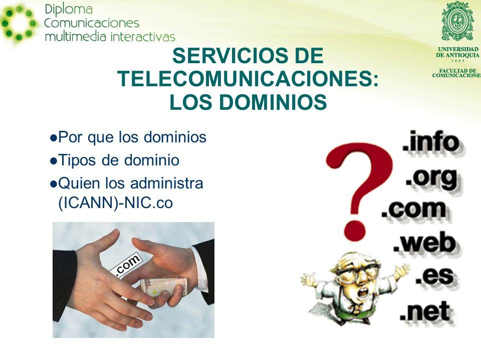 SERVICIOS DE TELECOMUNICACIONES: LOS DOMINIOS