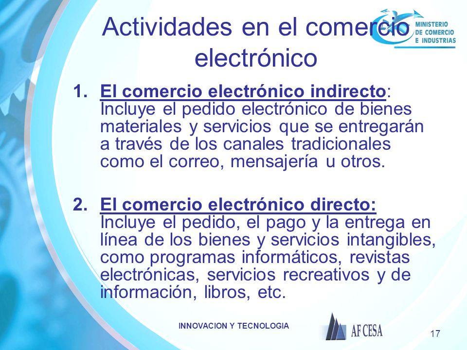 Actividades en el comercio electrónico