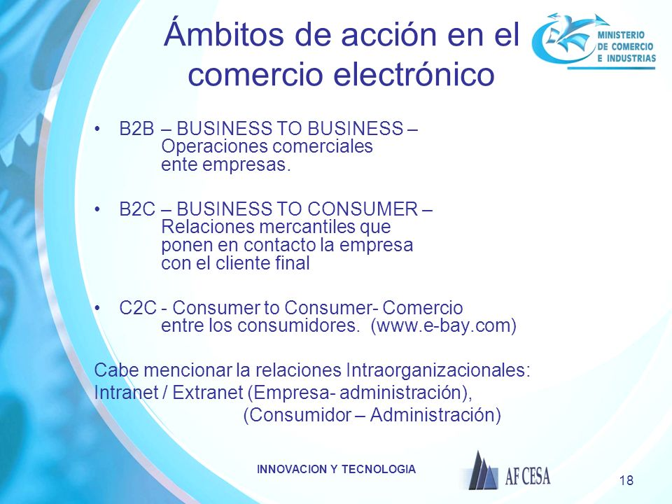 Ámbitos de acción en el comercio electrónico