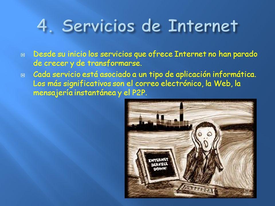 4. Servicios de Internet Desde su inicio los servicios que ofrece Internet no han parado de crecer y de transformarse.