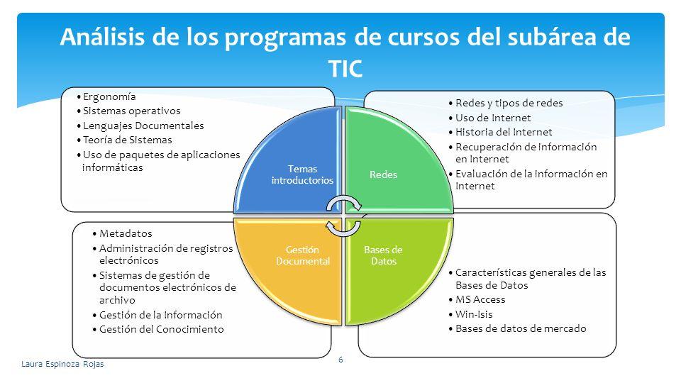 Análisis de los programas de cursos del subárea de TIC