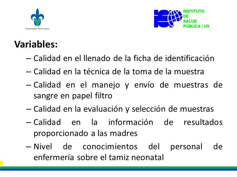 Variables: Calidad en el llenado de la ficha de identificación