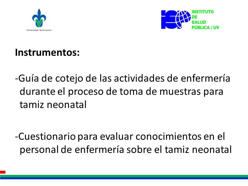 Instrumentos: -Guía de cotejo de las actividades de enfermería durante el proceso de toma de muestras para tamiz neonatal.