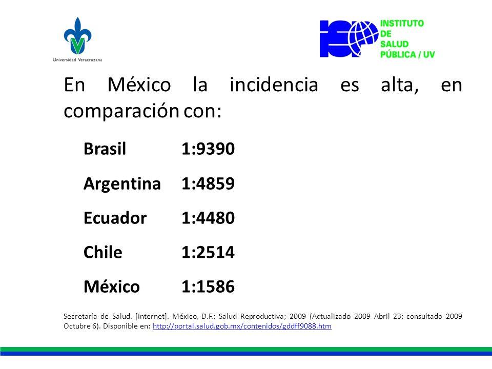 En México la incidencia es alta, en comparación con: