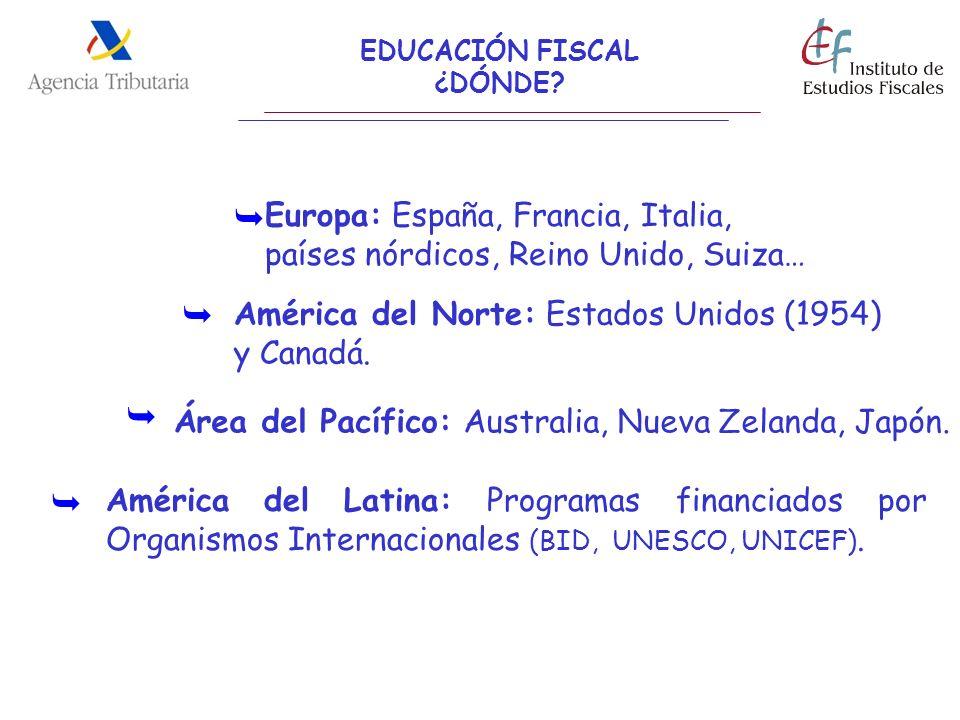EDUCACIÓN FISCAL ¿DÓNDE Europa: España, Francia, Italia, países nórdicos, Reino Unido, Suiza… 