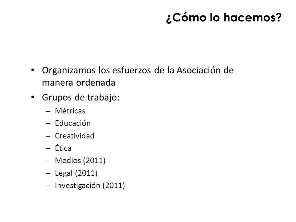 ¿Cómo lo hacemos Organizamos los esfuerzos de la Asociación de manera ordenada. Grupos de trabajo: