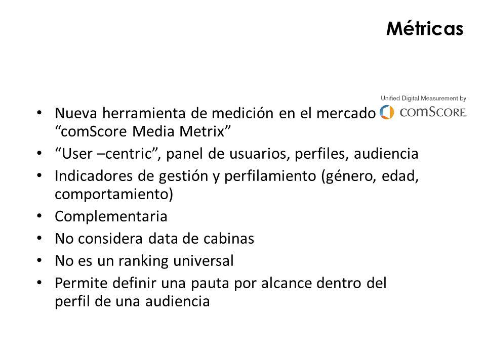 Métricas Nueva herramienta de medición en el mercado comScore Media Metrix User –centric , panel de usuarios, perfiles, audiencia.