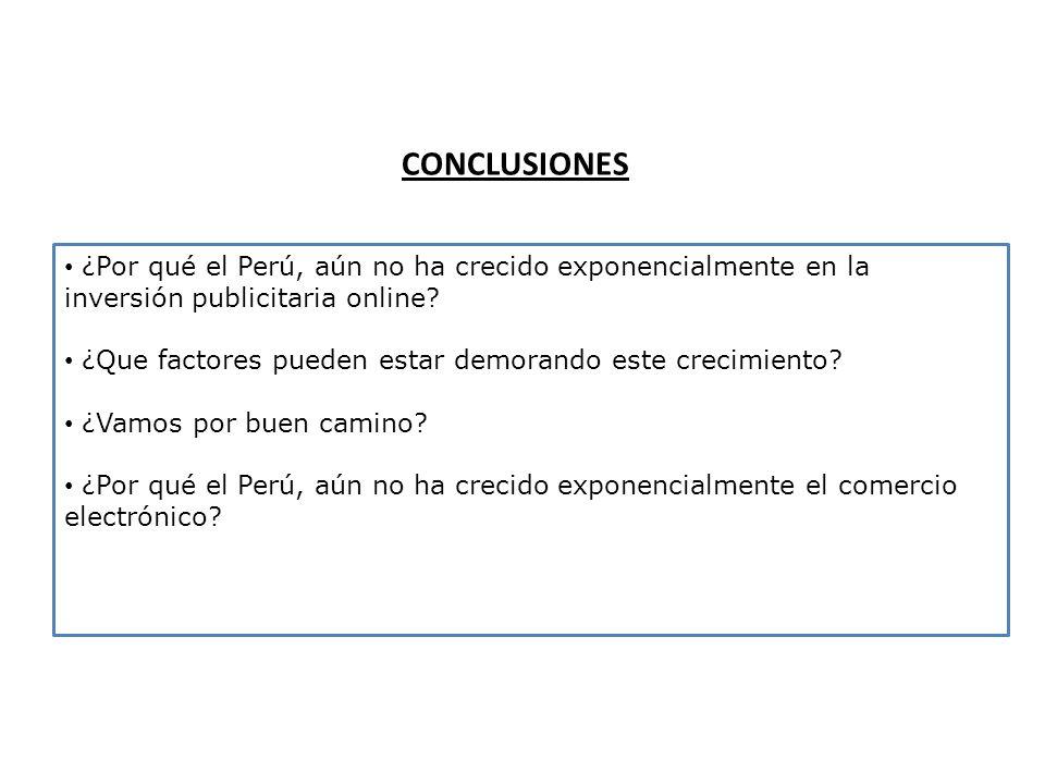 CONCLUSIONES ¿Por qué el Perú, aún no ha crecido exponencialmente en la inversión publicitaria online