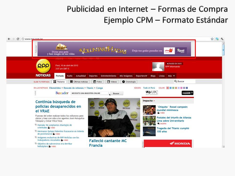 Publicidad en Internet – Formas de Compra Ejemplo CPM – Formato Estándar