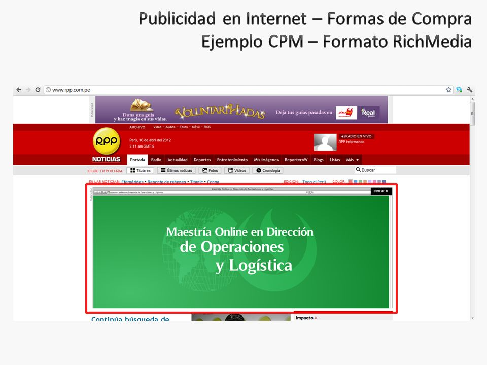 Publicidad en Internet – Formas de Compra Ejemplo CPM – Formato RichMedia