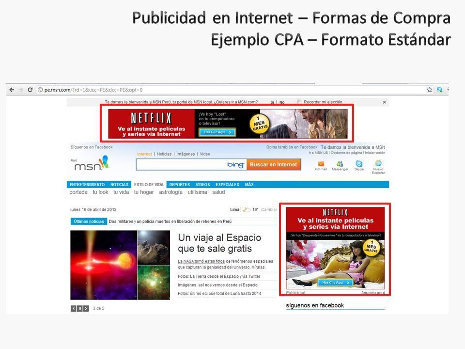 Publicidad en Internet – Formas de Compra Ejemplo CPA – Formato Estándar