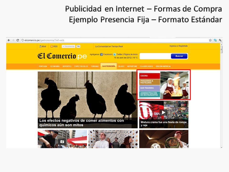 Publicidad en Internet – Formas de Compra Ejemplo Presencia Fija – Formato Estándar
