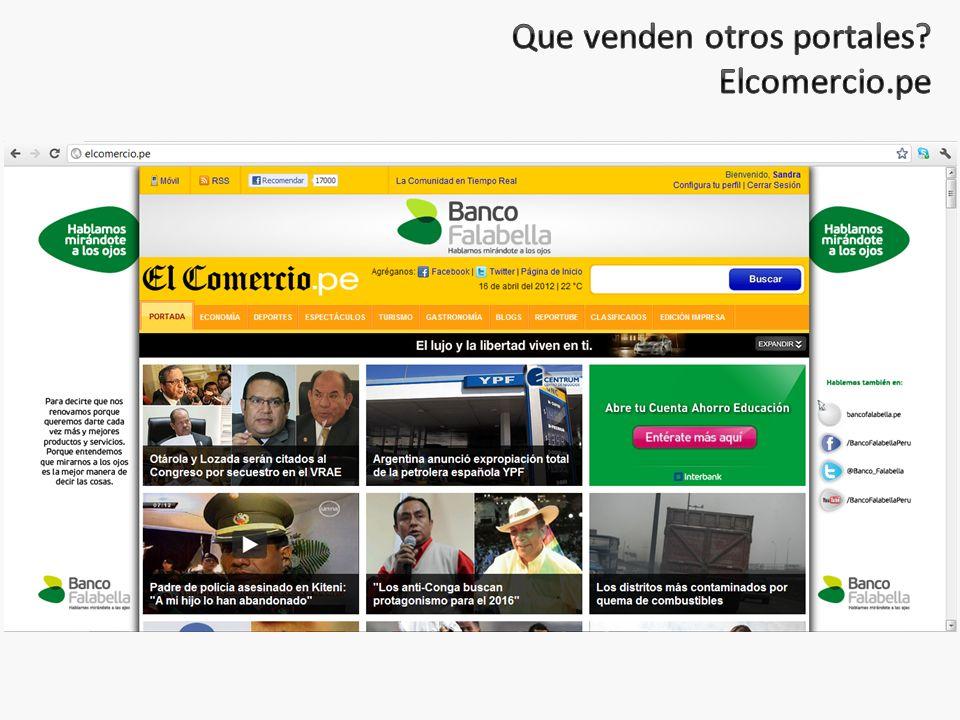 Que venden otros portales Elcomercio.pe