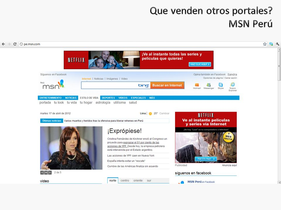 Que venden otros portales MSN Perú