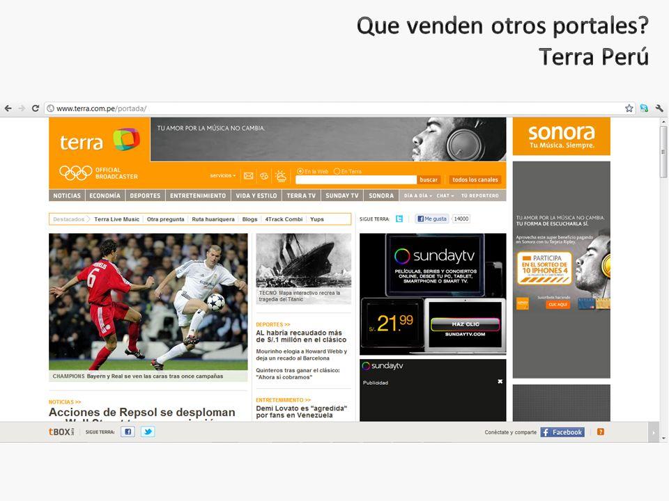 Que venden otros portales Terra Perú