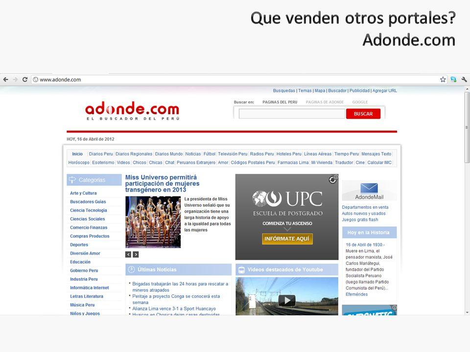 Que venden otros portales Adonde.com