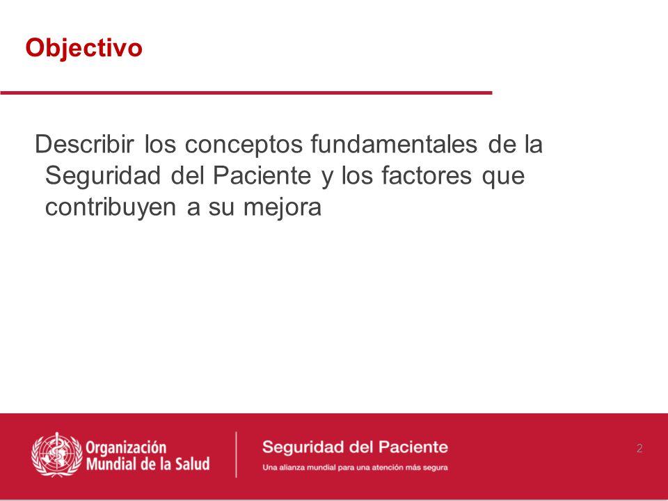 Objectivo Describir los conceptos fundamentales de la Seguridad del Paciente y los factores que contribuyen a su mejora.